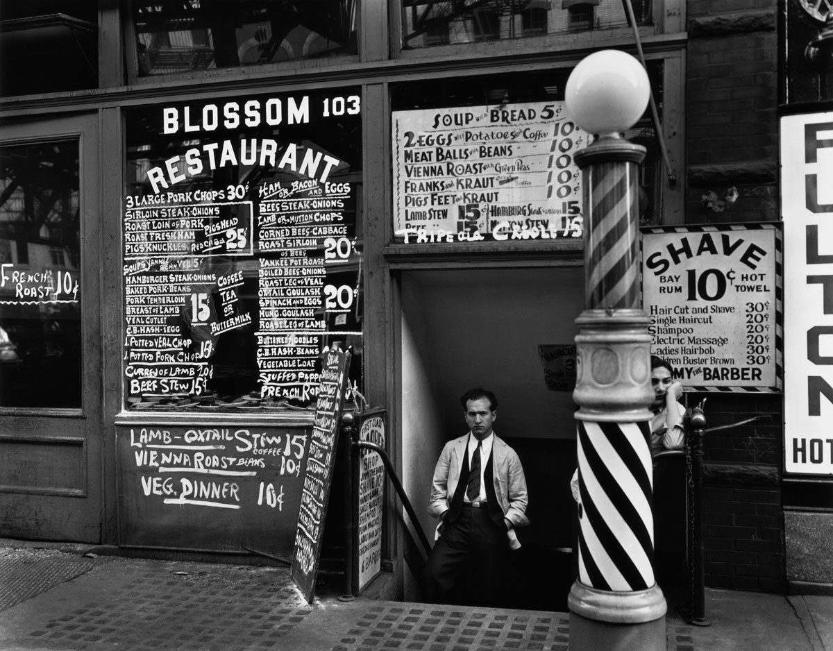 Blossom Restaurant, 103 Bowery, New York City (October 24,1934) by Berenice Abbott.