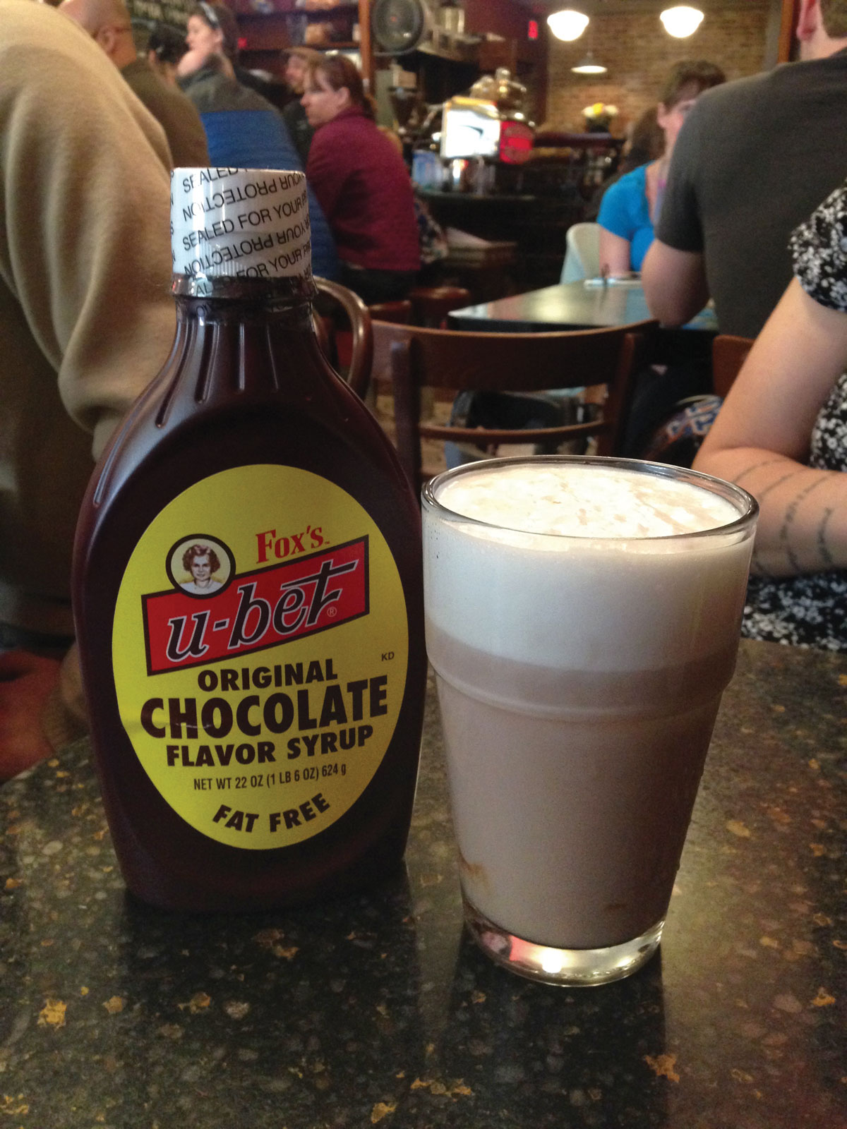 Photo of U-Bet syrup at Brooklyn Farmacy by Conan Tobias