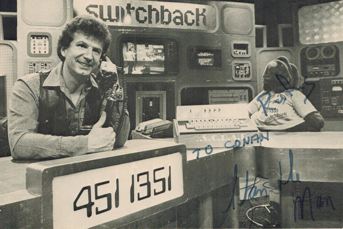 "Photograph of the Switchback host Stan ""the Man"" Johnson, circa 1983."