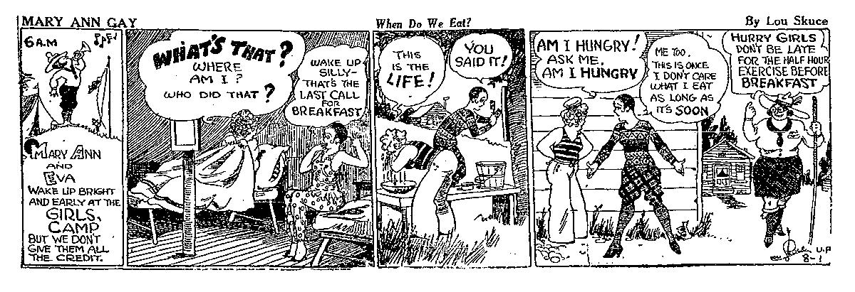 Mary Ann Gay comic strip by Lou Skuce, 1928