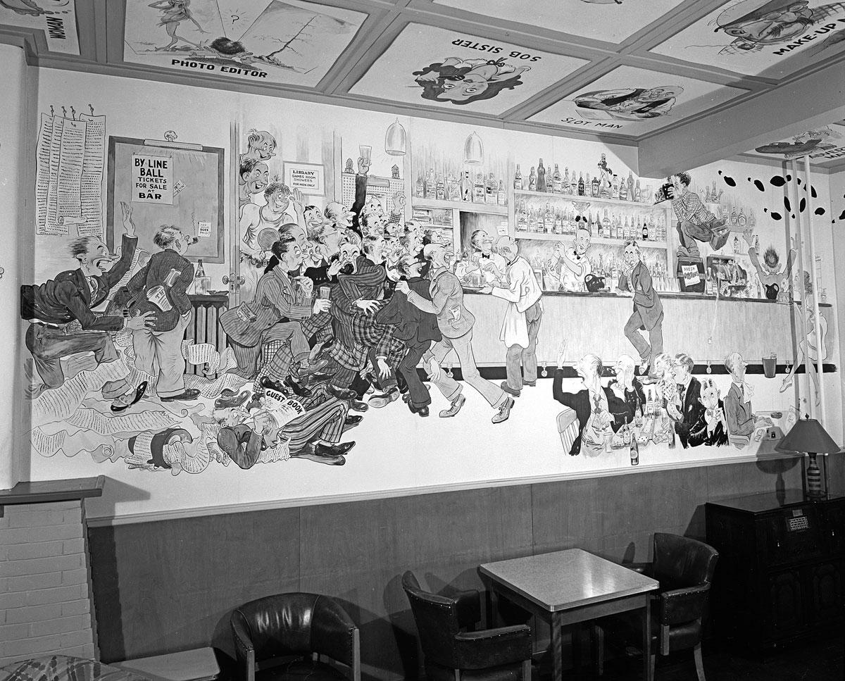 Photo of Lou Skuce mural at Toronto Men's Press Club