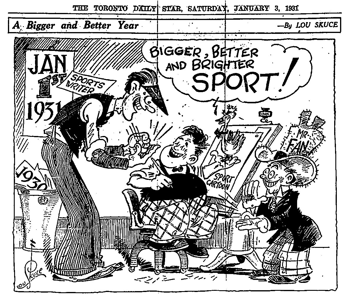 Lou Skuce cartoon from the Toronto Star for January 3, 1931