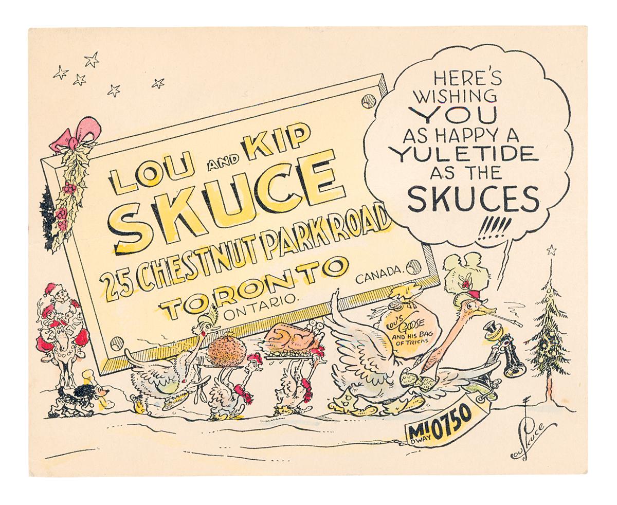 Lou Skuce family Christmas card, 1940s